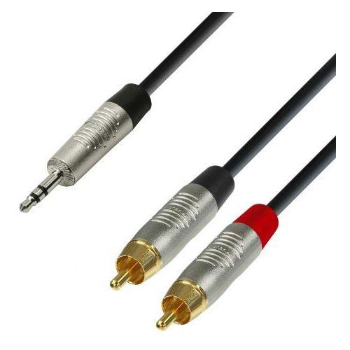 Adam hall cables k4 ywcc 0600 - kabel audio rean jack stereo 3,5 mm - 2 x cinch męskie, 6 m