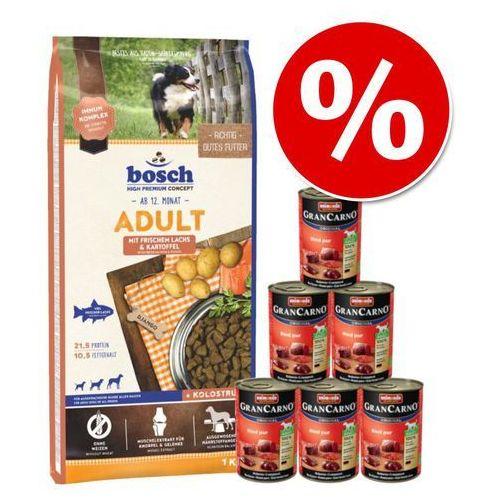 15 kg Bosch Adult + Animonda GranCarno czysta wołowina, 6 x 400 g - Adult Salmon & Potato, łosoś i ziemniak, 15 kg  Dostawa GRATIS + promocje  -5% Rabat dla nowych klientów