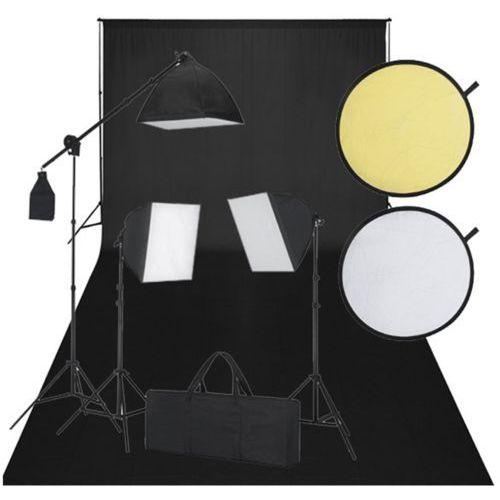 vidaXL Zestaw studio, czarne tło, 3 lampy i reflektor