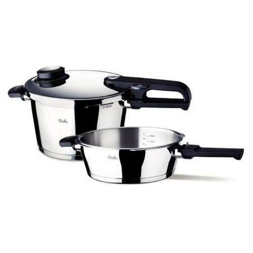 Fissler Vitavit Premium - Szybkowar 6 l i 2,5 l patelnia z wkładem do gotowania na parze - 6,0 l + 2,5 l, 620-301-12-070/0
