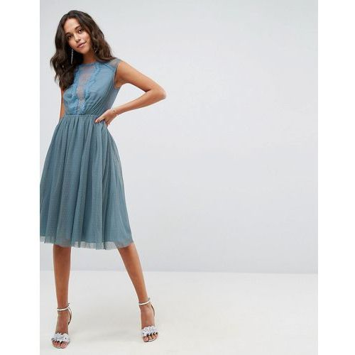 ASOS Tulle Cap Sleeve Midi Dress in Tonal Lace - Blue, kolor niebieski