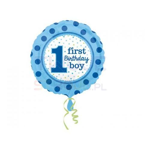 Twojestroje.pl Balon 1st b-day boy groszki niebieski 17'' 43cm