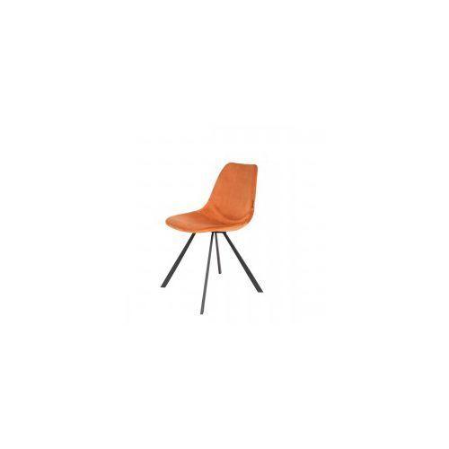 Dutchbone Krzesło franky velvet pomarańczowe -