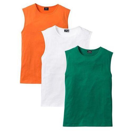 Shirt bez rękawów (3 szt.) regular fit  pomarańczowy + zielony + biały marki Bonprix