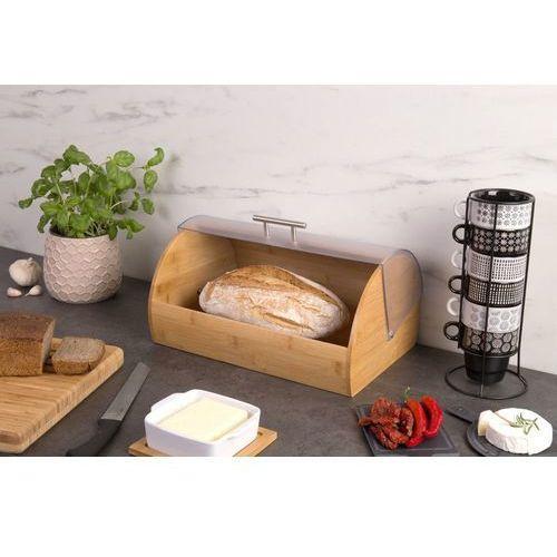Kesper Chlebak, pojemnik na pieczywo z bambusa z akrylową pokrywą, chlebak retro, pojemnik na pieczywo, pojemnik na żywność,