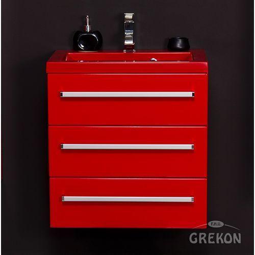 Czerwona szafka wisząca z umywalką 60/39/3CZ seria Fokus CZ, kolor czerwony