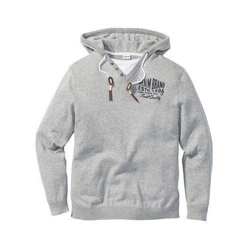 Sweter z kapturem regular fit jasnoszary melanż, Bonprix, S-XXXXL