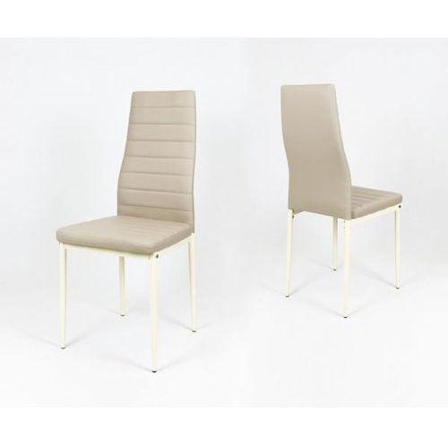 Sk design ks001 beżowe krzesło z eko-skóry, kremowe nogi - beżowy, nogi kremowe \ krzesło