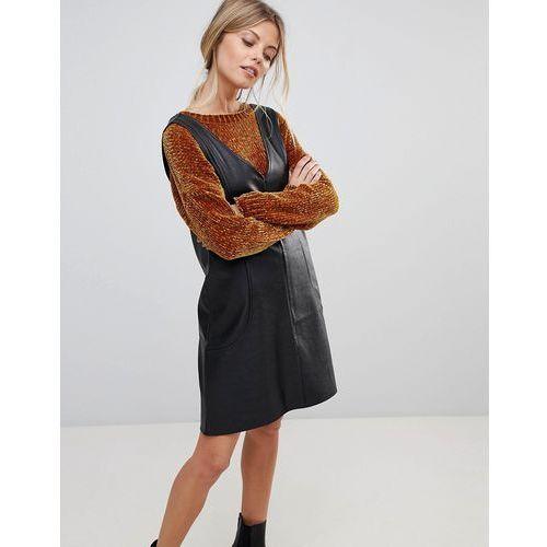 ASOS PU V Neck Mini Shift Dress - Black