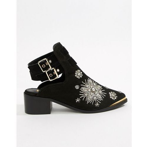 River Island embellished open back boot in black - Black