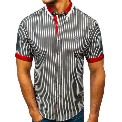 Koszula męska elegancka w kratę z krótkim rękawem szara Bolf 4501