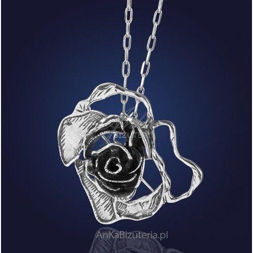 Srebrna biżuteria First Lady Broszko - Wisior - srebrna róża, kolor różowy
