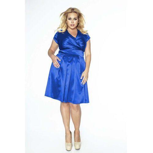 Chabrowa Sukienka Midi Plus Size z Kopertowym Dekoltem, kopertowa