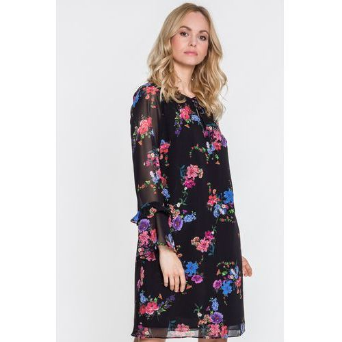 Kwiecista sukienka z wiązaniem przy dekolcie - EMOI, 1 rozmiar
