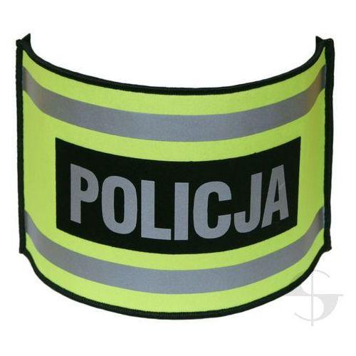 Opaska naramienna odblaskowa z napisem POLICJA - ze ściągaczem gumowym