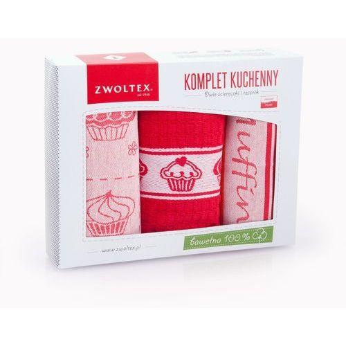 Zwoltex Komplet ścierek kuchennych 2+1 wzór muffin czerwony