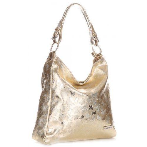 Uniwersalne i eleganckie torebki skórzane w motyle złote (kolory) marki Vittoria gotti