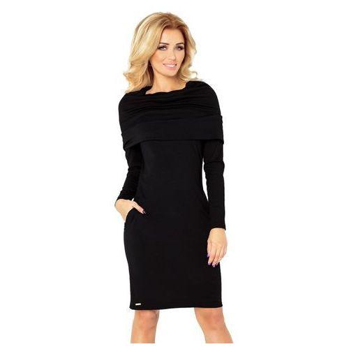 131-1 Sukienka z GOLFEM - grube punto - CZARNA XL, 1 rozmiar