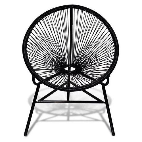 Vidaxl Czarne, owalne krzesło z rattanu pe