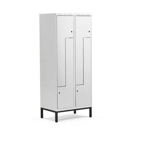 Aj produkty Szafa ubraniowa classic, typ l, na nóżkach, 2 moduły, 4 drzwi, 1940x800x550 mm, szary