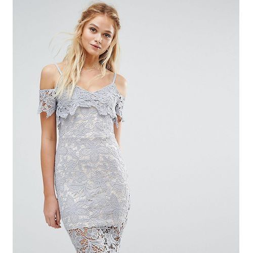 crochet lace cold shoulder midi dress - blue, Boohoo
