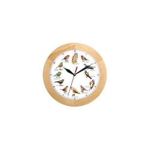Zegar z głosami ptaków drewniany solid #2