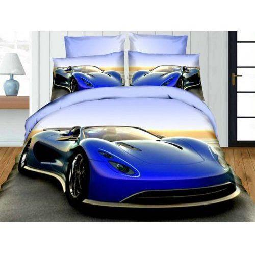 Pościel 3d - sportowy niebieski samochód - 220x200 4 cz. - fpw 105-05 marki Cotton world