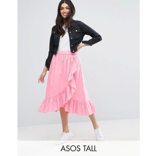 Asos tall  wrap midi skirt in cotton with ruffle hem - pink