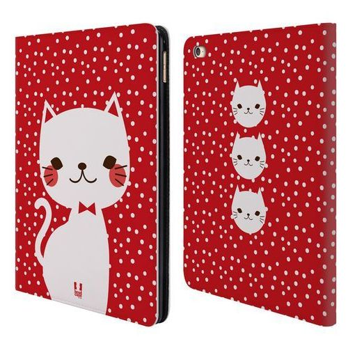 Etui portfel na tablet - Cats and Dots White Cat in Red, kolor biały