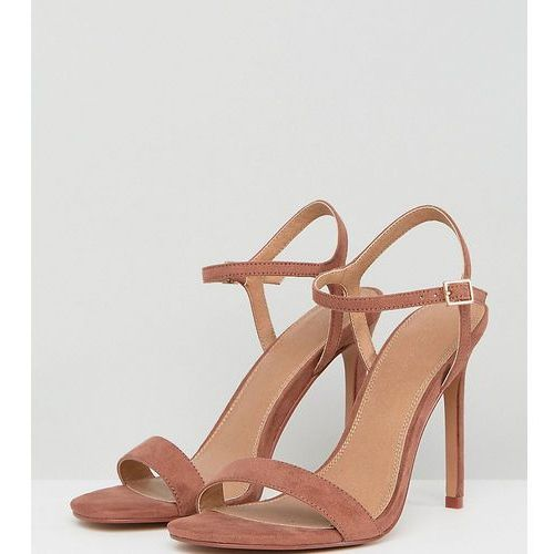 ASOS DESIGN Wide Fit Hands Down barely there heeled sandals - Brown