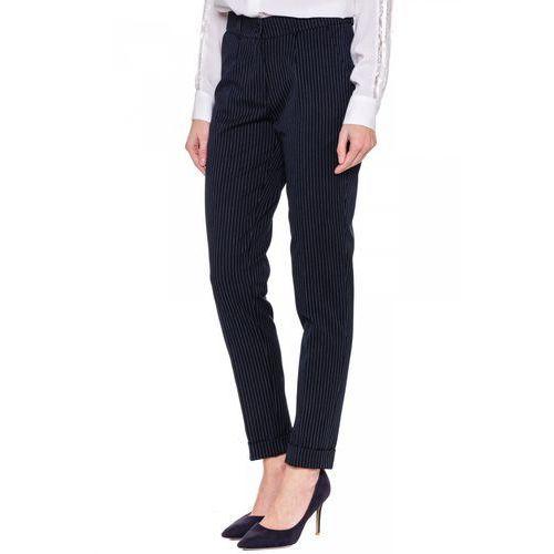 Granatowe spodnie w prążki - Bialcon, kolor niebieski