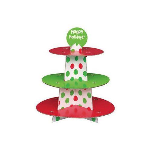 Stojak patera na słodycze w czerwone i zielone kropki - 1 szt.
