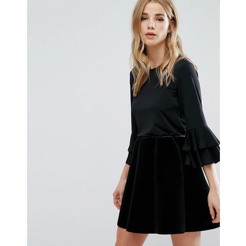 double frill sleeve top - black, New look