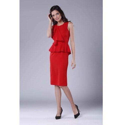 021b4e9f78 Suknie i sukienki · Czerwona wizytowo-koktajlowa sukienka z baskinką