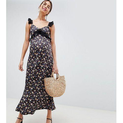 Asos design maternity maxi dress in ditsy print with ladder trim - multi marki Asos maternity