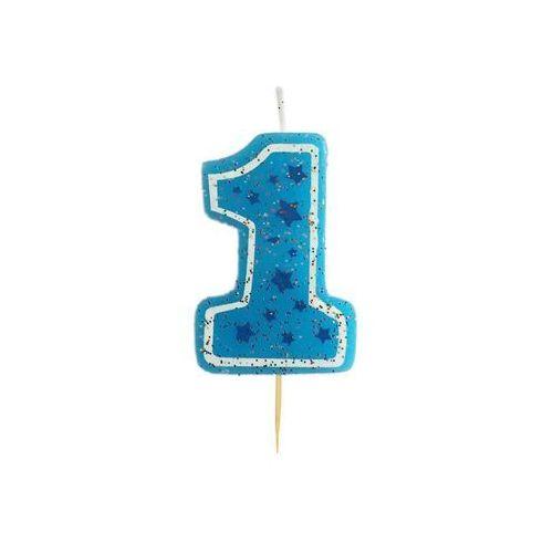 Gam Brokatowa świeczka cyferka jedynka 1 niebieska - 1 szt.