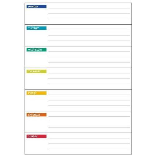magnetyczna tablica suchościeralna lean 045 planer tygodniowy angielski
