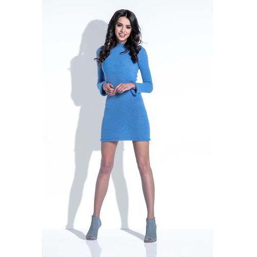Fobya Niebieska sukienka wełniana dopasowana mini
