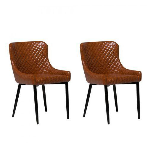 Zestaw do jadalni 2 krzesła Old Style brąz skóra ekologiczna Fischetti, kolor brązowy