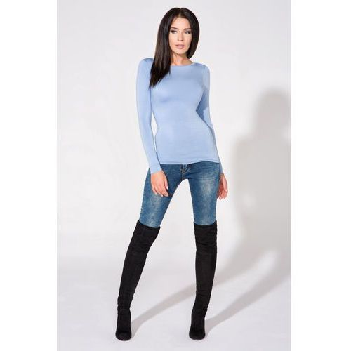 Niebieska Bluzka Dzianinowa z Dekoltem na Plecach, w 5 rozmiarach