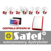 Zestaw alarmowy integra 64, klawiatura dotykowa, 8 czujników ruchu, 2 czujniki ruchu dualne, 2 czujniki zalania, czujnik dymu, czujnik czadu, czujnik gazów usypiających, czujnik gazu ziemnego, sygnalizator zewnętrzny sp-4003, powiadomienie gsm marki Satel