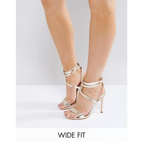 River Island Wide Fit Barely There Sandal With Hardware Straps Detail - Gold