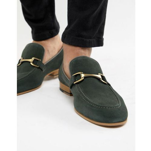 suede loafer in green - green, River island