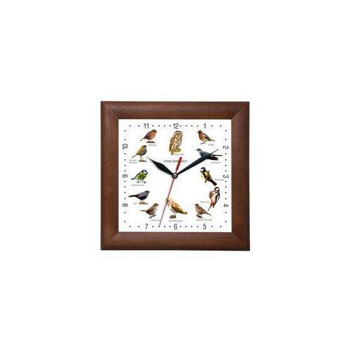 Zegar drewniany kwadrat z głosami ptaków #2 marki Atrix