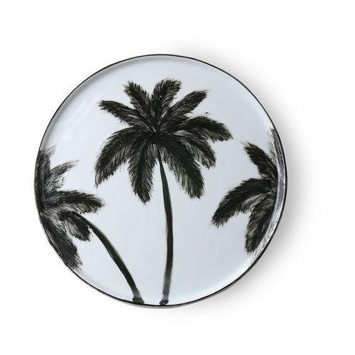 """HK Living Porcelanowy talerz obiadowy w palmy z serii """"Dżungla"""" ACE6852"""
