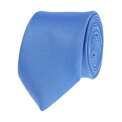 Krawat gładki jednokolorowy niebieski wąski śledź VIP