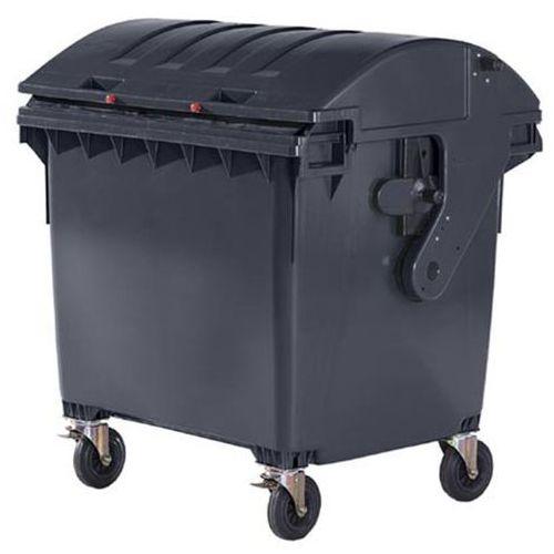 Duży pojemnik z tworzywa na odpady wg PN EN 840, poj 1100 l, pokrywa przesuwana,