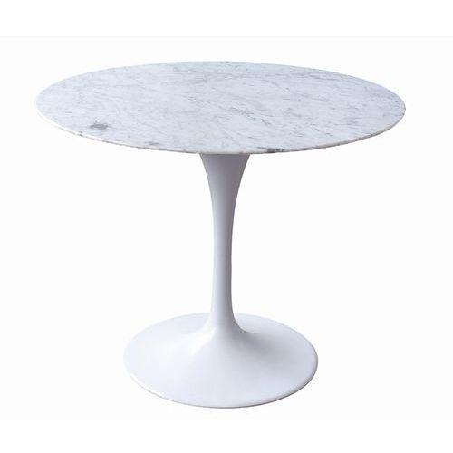 Stół TULIP MARBLE 90 biały - blat okrągły marmurowy, metal