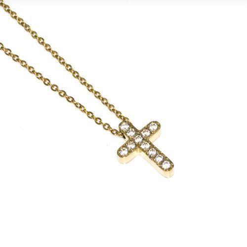 Naszyjnik pozłacany 18K złotem krzyżyk z cyrkoniami