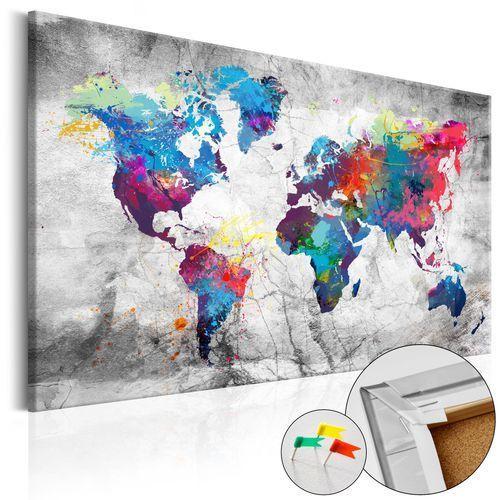Obraz na korku - mapa świata: szary styl [mapa korkowa] marki Artgeist